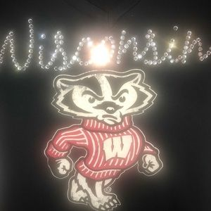 Ladies Wisconsin Badgers v neck t-shirt *Bling*